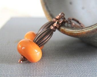 Glass Earrings, Orange Glass, Opaque Orange, Copper Earrings, Lampwork Glass, Copper, Grooved Copper, Copper Jewelry