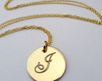 Gold Letter Necklace, Engraved Initial Necklace, 14K Gold Filled Letter Charm Necklace, Engraved Letter Charm