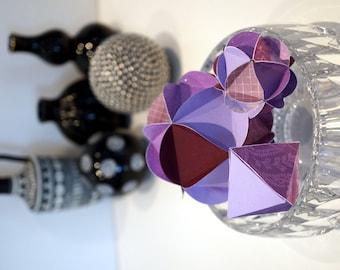 Handmade Purple Paper Ornaments Geometric Ornament Handmade Sculpture Art Desk Accessory Home Decor Wedding Decoration 3D Paper Orb