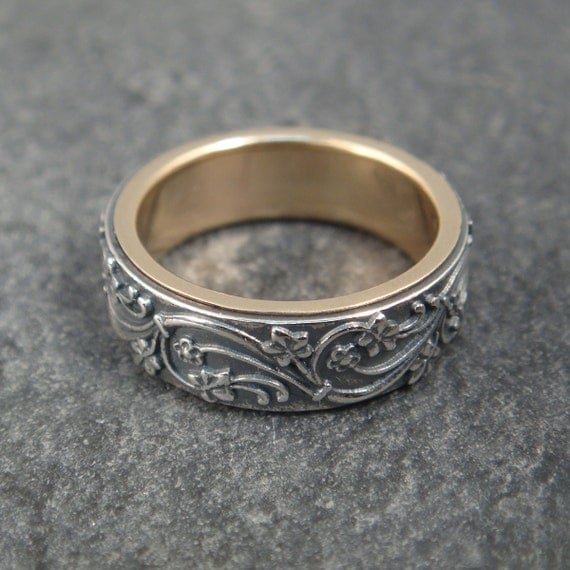 Ivy Scroll Bands: Wedding Band Art Deco Ivy Wedding Ring By DownToTheWireDesigns