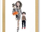 Custom watercolor mother & 2 child portrait