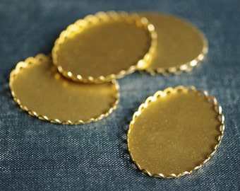 Large 40x30mm Oval Lace Edge Settings - Raw Brass - 6pcs
