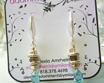 Malibu Aqua Blue and Grayish Brown Earrings Gemstones Sterling Silver Matching Bracelet Neutrals