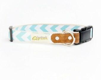 Aqua and White Chevron. Hemp Dog Collar.  Adjustable Sizing.