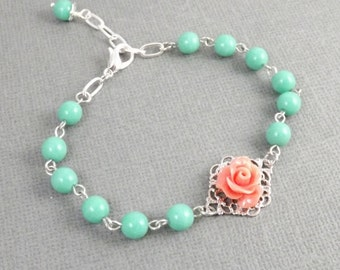 Aqua and Coral Flower Silver Filigree Bridesmaids Bracelet