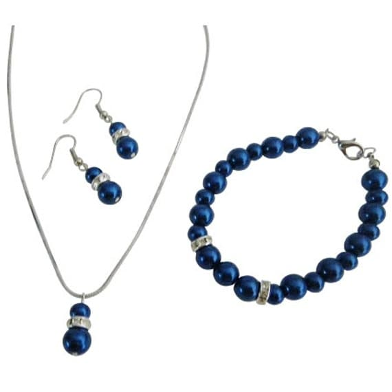Best Affordable Jewelry w/ Silver Rondells Diamond Dark Blue Jewelry Free Shipping In USA