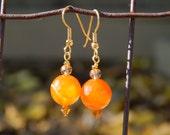 Orange beaded earrings, Gold beaded earrings