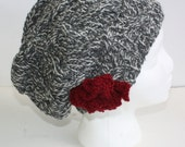 The Slouchy Hat. Marled Gray with  Knitted Flower Pin Embellishment