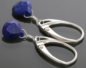 Little Lapis Lazuli Earrings with Sterling Silver Leverback Ear Wires f14e012