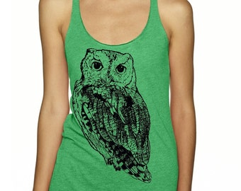 Owl Shirt  Womens Tank Top Woodland Animal Shirts Womens Clothing Owls Exercise Tops Active shirts for the gym Green and Black Shirt