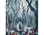 The Fox Forest - Screenprinted Art Print