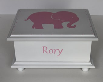 Baby Keepsake Box Pink elephant memory box personalized baby gift hand painted girl gift