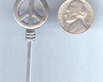 Fabulous Peace Sign Beadable Silver Metal Pendant Charm 1pc