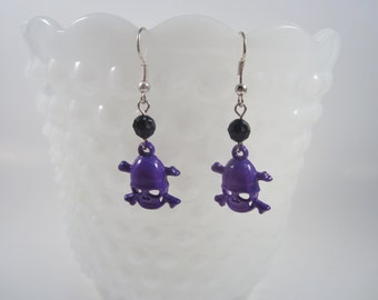 Purple Skull and Crossbones Earrings - Punk - Rocker - Rockabilly - Pin Up Jewelry