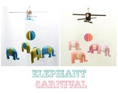 Musical Baby Mobile ELEPHANT CARNIVAL, Free Music Box, Safari Theme, Hanging Crib Mobile for Baby Nursery, Playroom Decor, Baby Shower Gift