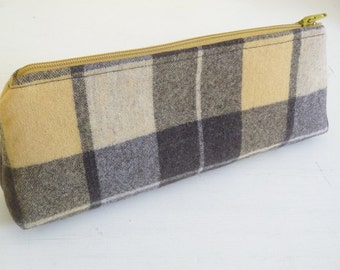 Pencil Case, Long Zippered Bag in Golden Yellow and Brown Plaid Wool