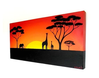 Sun Setting Over the African Plains original acrylic painting - African landscape on a long canvas with giraffe and elephant (UK only)