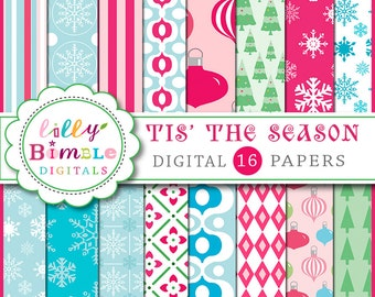 80% off Christmas digital scrapbook paper Tis the Season snowflakes bulbs INSTANT DOWNLOAD bulbs, trees
