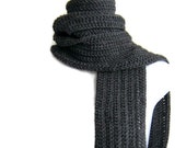 Charcoal Grey Scarf Wool Unisex Classic DRAKE Ready to Ship