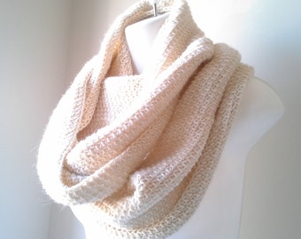 Ivory Cream Alpaca Infinity Scarf Eternity Winter SAMANTHA Ready to Ship Gift for Her