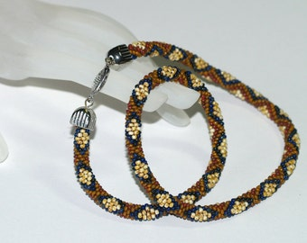 Picasso Diamonds ... Bead Crochet Necklace . Beadwork . Earthy Necklace . Earthy . Brick Red . Caramel . Honey . Dark Blue . Neckwear . OOAK