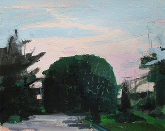 Home Turn, Original Landscape Painting on Paper, Stooshinoff