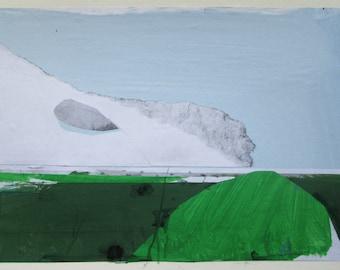 Little Green, Original Landscape Collage Painting on Paper, Framed