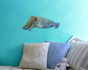"Cuttlefish - Sea Life Vinyl Decal - Sepiida - 22"" wide x 9.25"" tall"