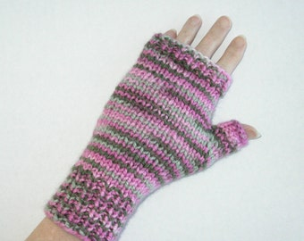 Pink and Green Mitts Acrylic Fingerless Gloves