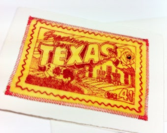 TEXAS LONE STAR State Blank Greeting Card Velvet Sewn Yellow and Red Itallian Deckle Edge Card