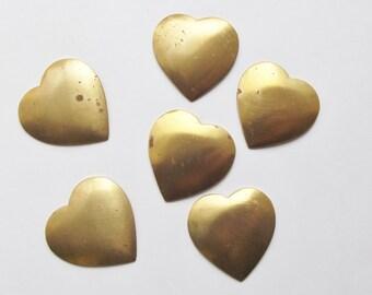 Vintage brass heart stampings
