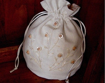 Bridal purse wedding bag Mother of bride blush embroidered drawstring pouch