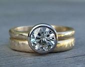 Moissanite Wedding Ring Set - Engagement Ring & Band - Forever Brilliant Moissanite, Recycled 14k Yellow Gold, and 18k Palladium White Gold