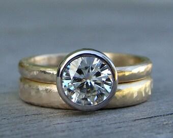 Moissanite Wedding Ring Set - Engagement Ring & Band - Forever One G-H-I Moissanite, Recycled 14k Yellow Gold, and 18k Palladium White Gold