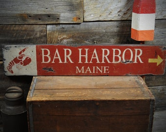Custom Bar Harbor Maine Wood Lobster Sign - Rustic Hand Made Wooden ENS1000220