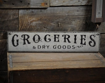 Groceries & Dry Goods Sign - Kitchen Distressed Primitive Rustic Hand Made Vintage Country Wall Decor Wooden Pantry Signs ENS1000279