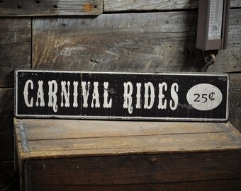 Carnival Rides 25 Cents Wood Sign - Rustic Hand Made Vintage Wooden ENS1000214