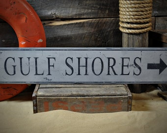 Custom Gulf Shores Arrow Sign - Rustic Hand Made Vintage Wooden Sign ENS1000443