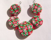 Christmas Red Green  Artisan Polymer Clay Bead Set with Focal and 4 Beads