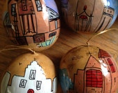 Hand-Painted Gourds set of 4 Christmas Ornaments with NM missions by artist, Sandy Short.