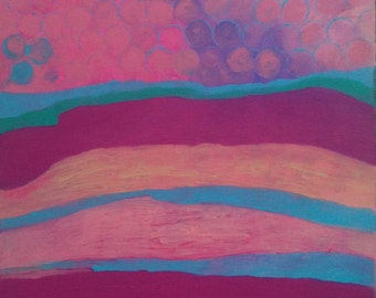 SALE Abstract Painting - The Grand Kids -  24 x 36 Art Painting - Fuschia Pink Blue Purple