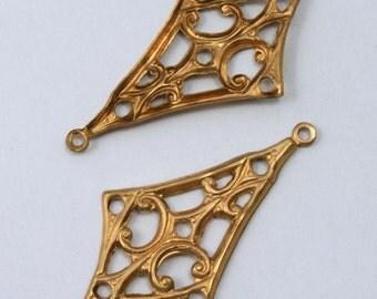 30mm Brass Filigree Kite Ear Drop (4 Pcs)  #1695