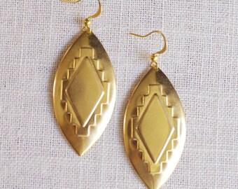 SALE . phalanx // gold navajo earrings . silver or gold aztec earrings . statement navajo earrings . geometric jewelry . armor jewelry