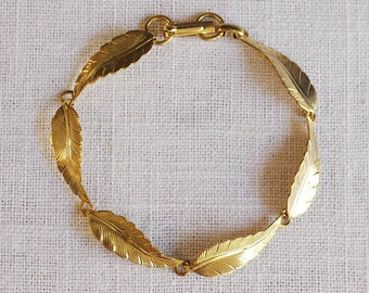 vintage leaf bracelet . leaf jewelry . leaf link bracelet . silver or gold leaf bracelet . leaf jewelry . autumn jewelry // 3SPRG