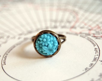 vintage sky blue pressed glass floral cabochon ring- adjustable- antique brass
