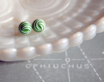 vintage summer- nautical knot green and white vintage post earrings  Ask a Question