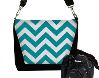 CLEARANCE Teal Chevron Camera Bag Digital Slr Camera Bag DSLR Camera Bag Purse Womens Camera Bag Case RTS