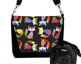 Digital Slr Camera Bag Purse for Women Nikon Canon DSLR Camera Case Cute Hipster Foxes  black purple green orange RTS
