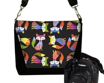 SALE Digital Slr Camera Bag Purse for Women Nikon Canon DSLR Camera Case Cute Hipster Foxes  black purple green orange RTS
