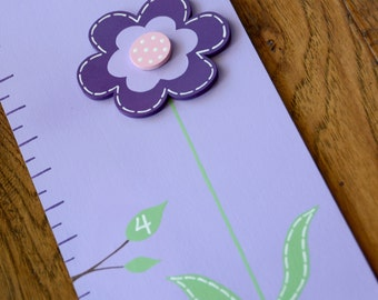 Purple Lavender and Pink Daisy and Butterfly Wooden Growth Chart, handpainted, FREE nail cover and personalization